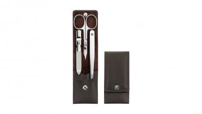 Estuche de manicura marrón 3 piezas