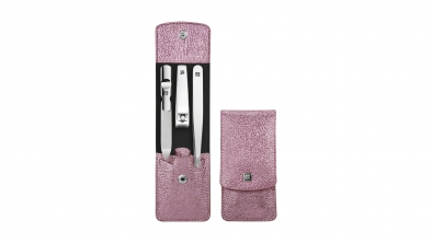 Calf Leather Pocket Manicure Set, Pink, 3 Pcs.