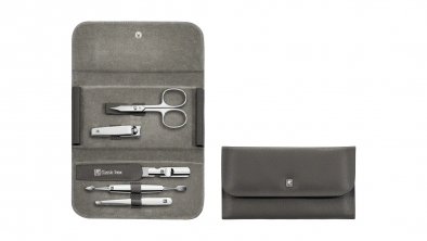 Snap fastener case, neat's leather, anthracite, 5 pcs.
