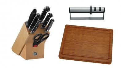 Knife Block, Sharpener and Chopping Board Set