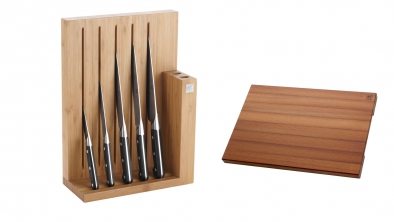 6 piece Knife Block and Chopping Board Set