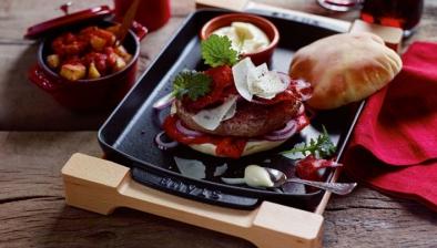Rectangular Serving Dish with Wood Base