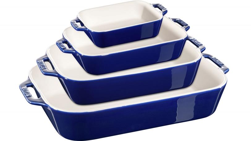 Juego de 4 fuentes cerámicas azules de varios tamaños | Servicio | Staub 0