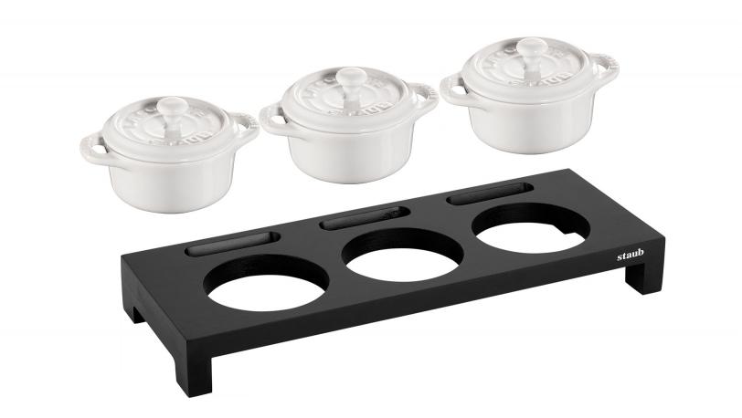 Servierbrett mit 3 Mini-Cocotte, Keramik   Servieren   STAUB 0