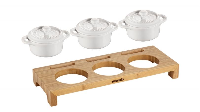 Servierbrett mit 3 Mini-Cocotte, Keramik | Servieren | STAUB 0