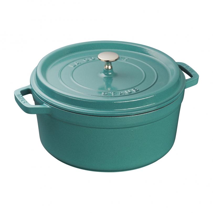 26cm Round Cast Iron Cocotte Mint Green | Cocottes | STAUB 0