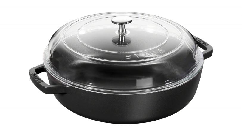 Sauteuse, couvercle en verre 28 cm, Noir mat   Sauteuse avec couvercle   STAUB 0