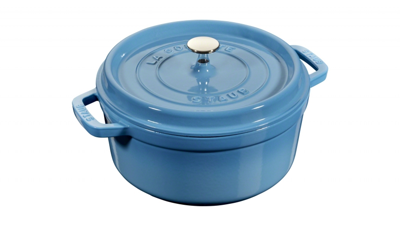24cm Round Cast Iron Cocotte Ice Blue | Cocottes | STAUB 0