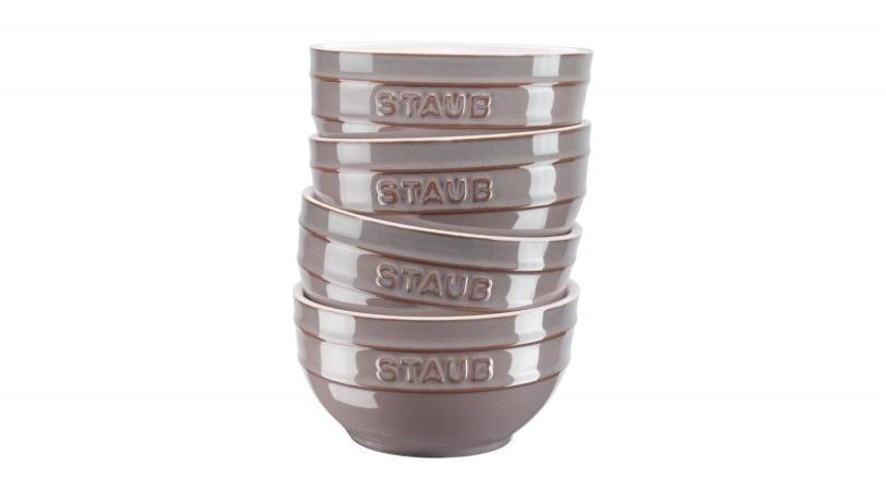 Set Of 4 14cm Ceramic Bowls Ancient Grey   Tableware   STAUB 0