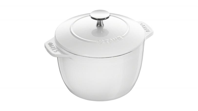 16cm Round Cast Iron Rice Cocotte Pure White | Cocottes | STAUB 0