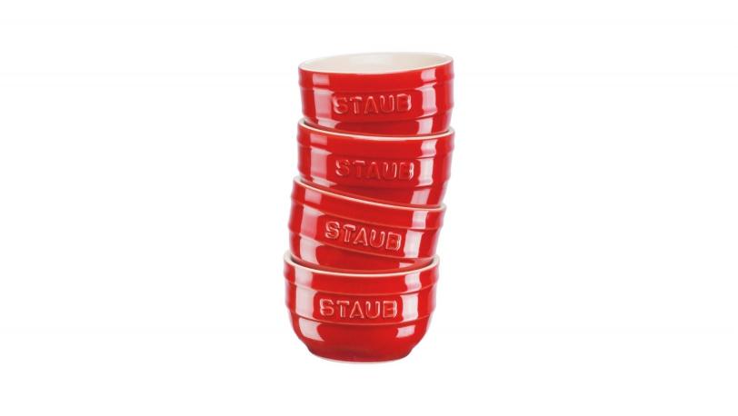 Set of 4 12cm Ceramic Ramekins Cherry Red | Tableware | STAUB 0