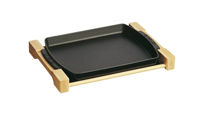 Plat à four fonte avec support bois