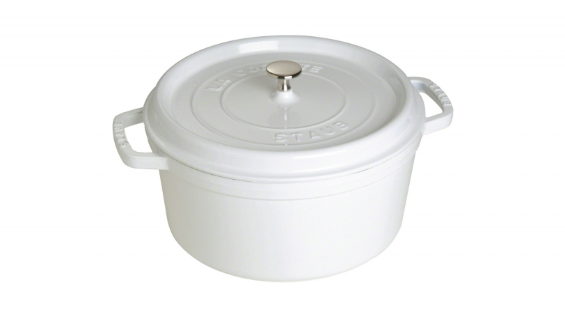 28cm Round Cast Iron Cocotte Pure White | Cocottes | STAUB 0