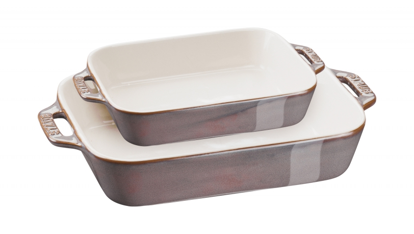 20cm x 16cm & 27cm x 20cm 2 Piece Rectangular Ceramic Baking Dishes Ancient Copper | Cooking | STAUB 0