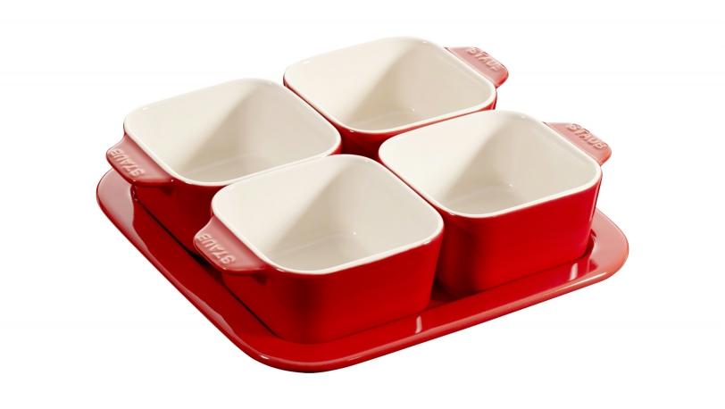 19cm Square 5 Piece Ceramic Tapas Set Cherry | Serving | STAUB 0