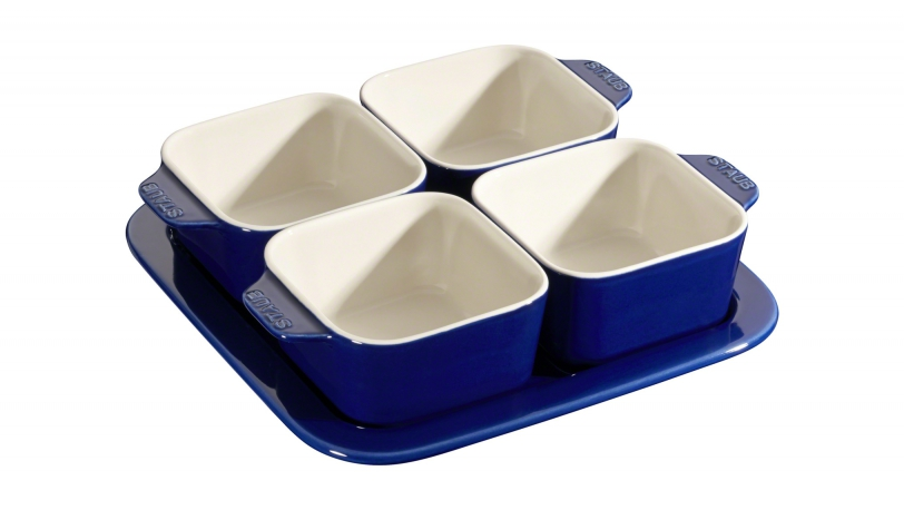 19cm Square 5 Piece Ceramic Tapas Set Dark Blue | Serving | STAUB 0