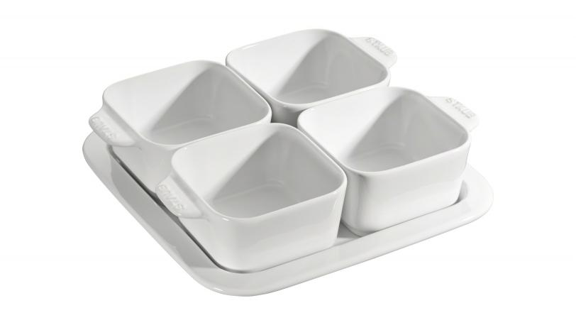 19cm Square 5 Piece Ceramic Tapas Set White | Serving | STAUB 0
