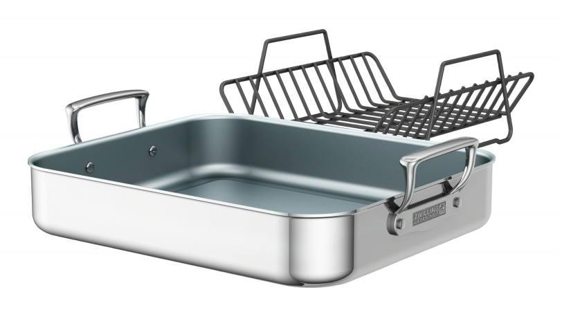 Polished Stainless Steel Ceramic Nonstick Roasting Pan