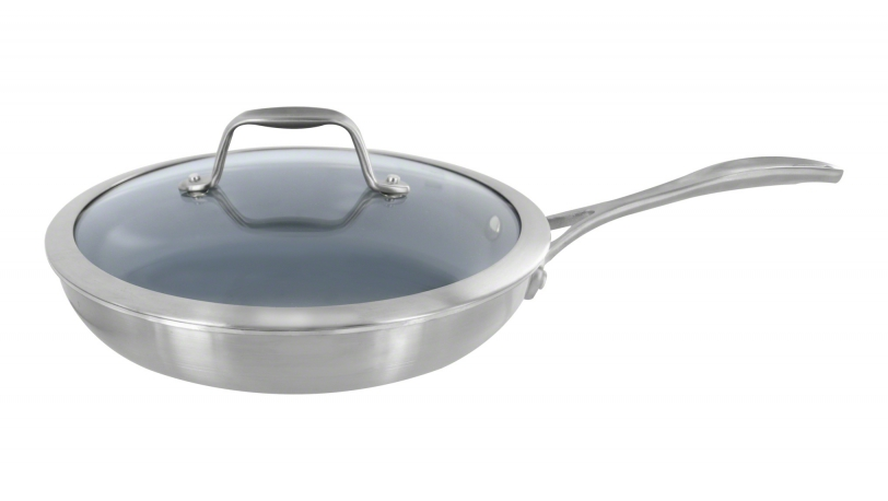 "9.5"" Stainless Steel Ceramic Nonstick Fry Pan with Lid"