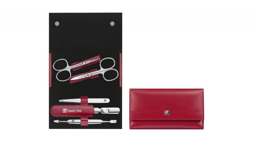 Calf Leather Manicure Set with Snap Fastener, Red, 5 Pcs. | ZWILLING® Classic Inox Manicure Cases | Zwilling 0