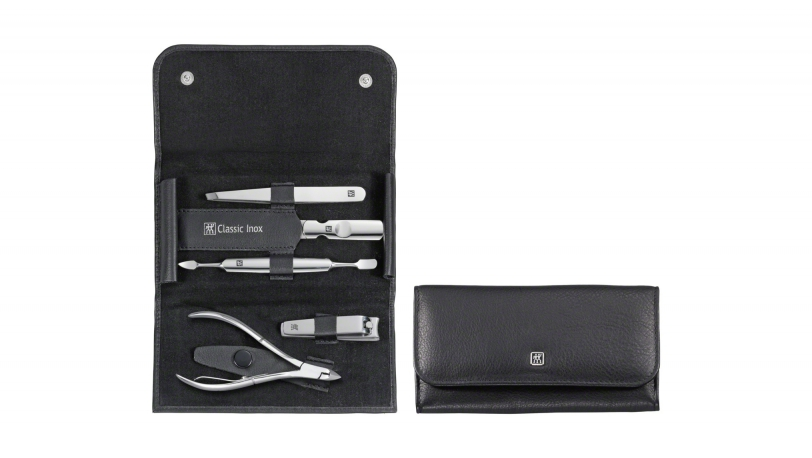 Calf Leather Manicure Set with Snap Fastener, Black, 5 Pcs. | ZWILLING® Classic Inox Manicure Cases | ZWILLING 0