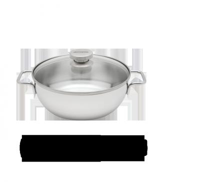 Conische sudderpot met glazen deksel